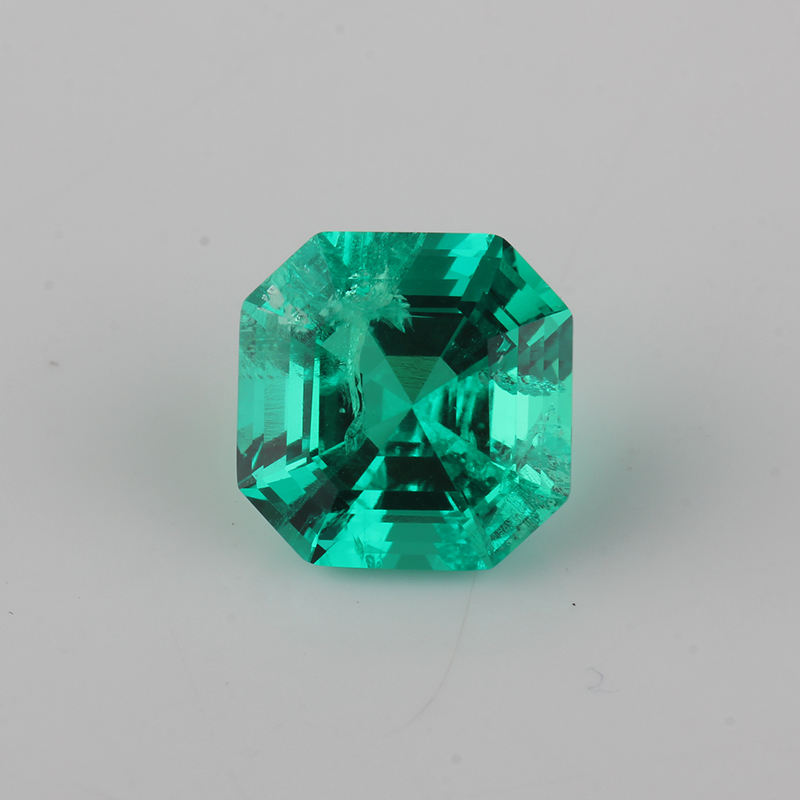 Various Size Asscher Cut Synthetic Emerald Stone Hydrothermal Method Emerald For Sale