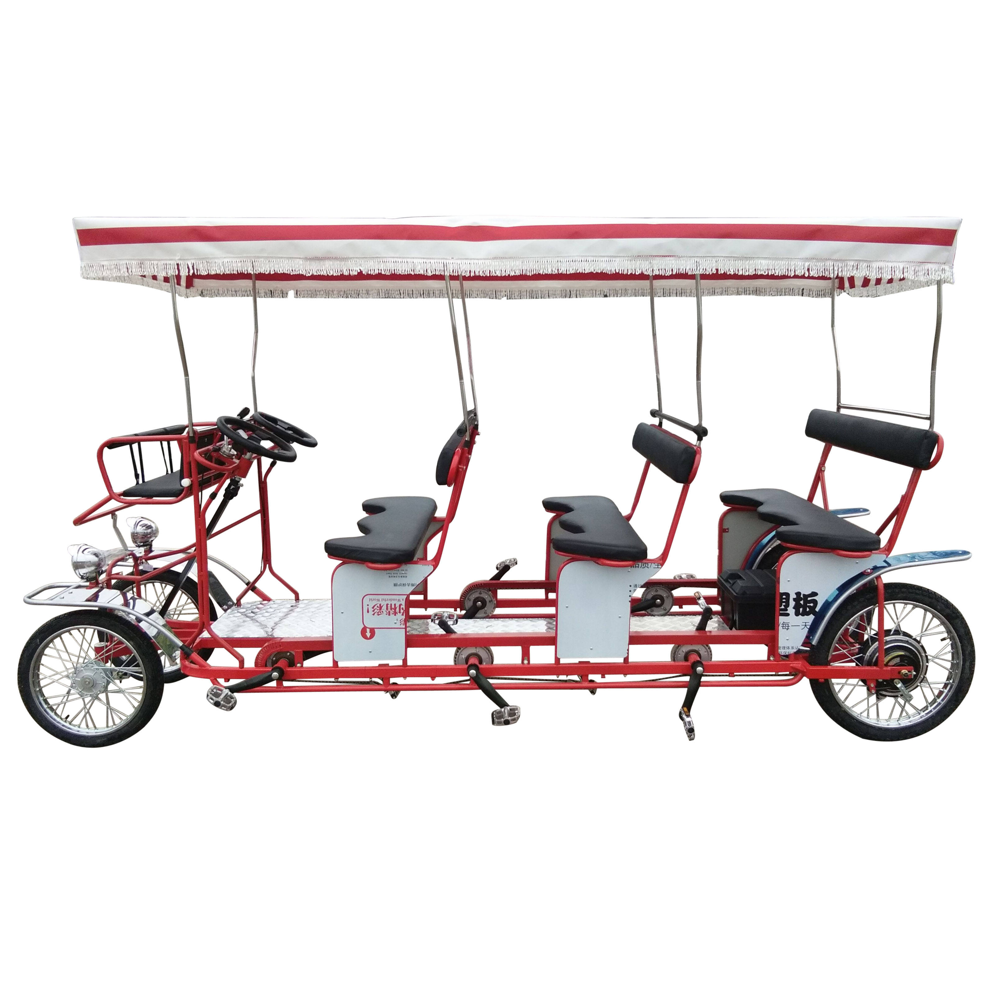 Hot Sale Family Pedal Leisure Surrey 4 Person And 6 Seat Electric Bike Four Wheel Bike For Tourists