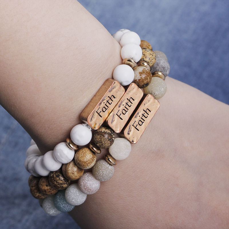 New arrival high quality inspirational engraved faith bracelet jewelry 8mm natural beaded stone bracelets