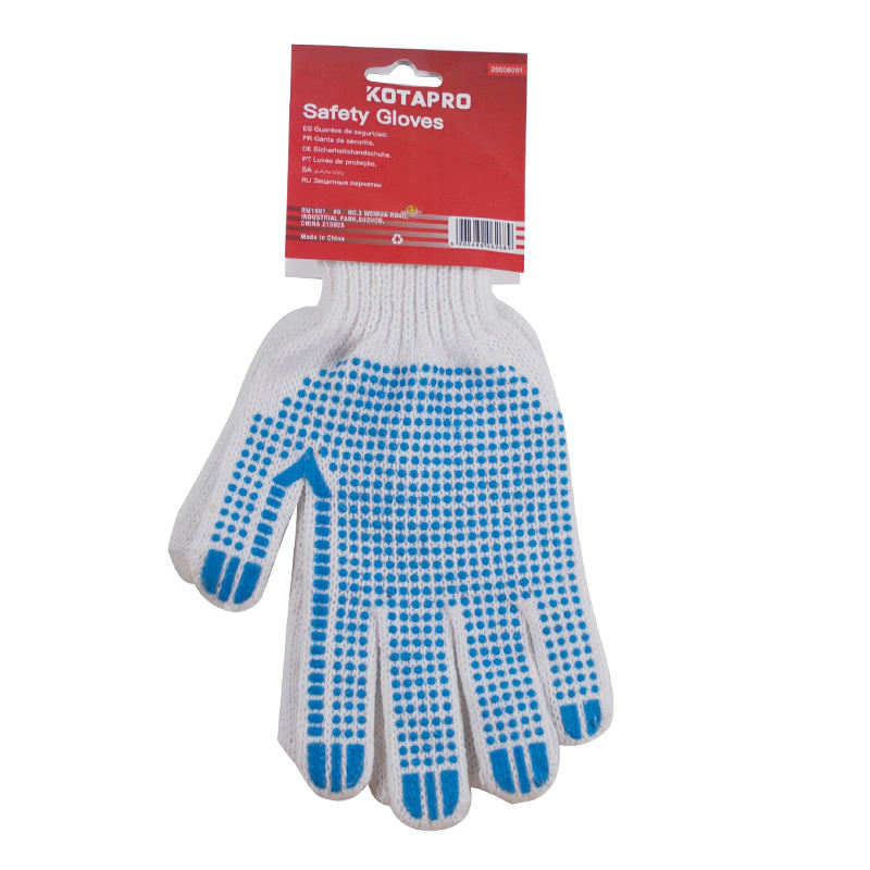 PVC Blue Dot Work Industrial Cotton Hand Gloves