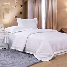 300TC 100% cotton white 3cm satin stripe hotel duvet cover, pillow case and bed sheet