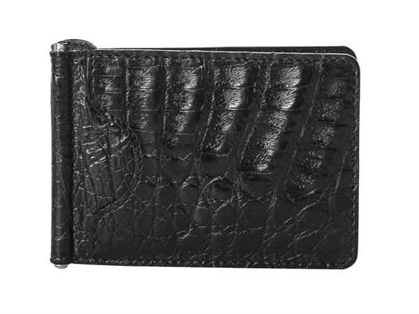 Genuine Caiman Leather Money Clip Card Case - BIASSUTO