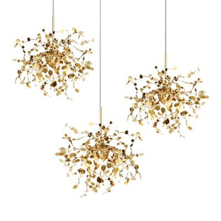 Firework LED chandelier Post Modern Style Titanium 3 lights in Gold XJC8653-P3