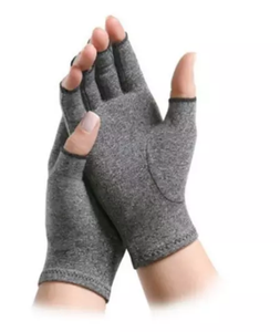 Half finger gray copper fiber Joints Compression Arthritis gloves