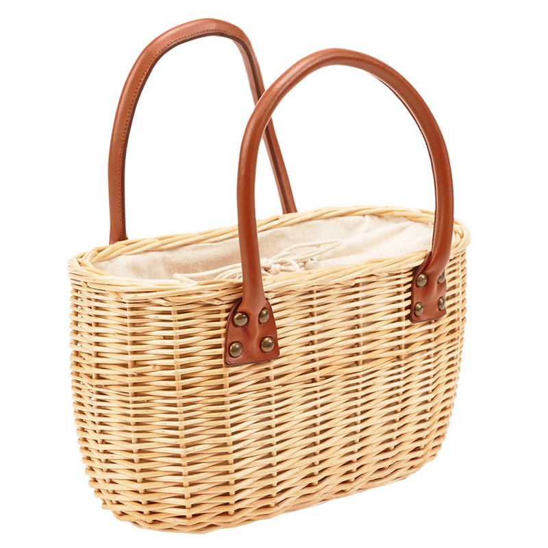 Wholesale Hand woven Straw Willow Wicker Bag Beach Bag Shopping bag