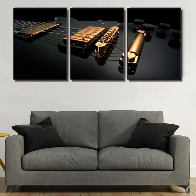 Black Electric Guitar Music Home Decor Canvas Print Artwork Pictures for Dining Room Wall Decor Drop Shipping
