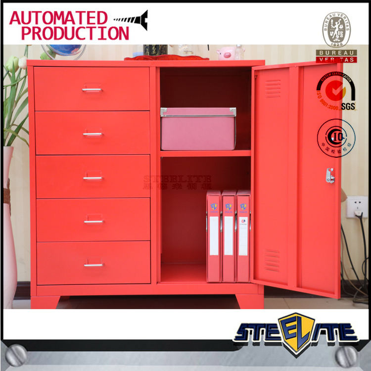 Small red one shelf box bedroom 5-tier storage cabinet drawers bedside locker