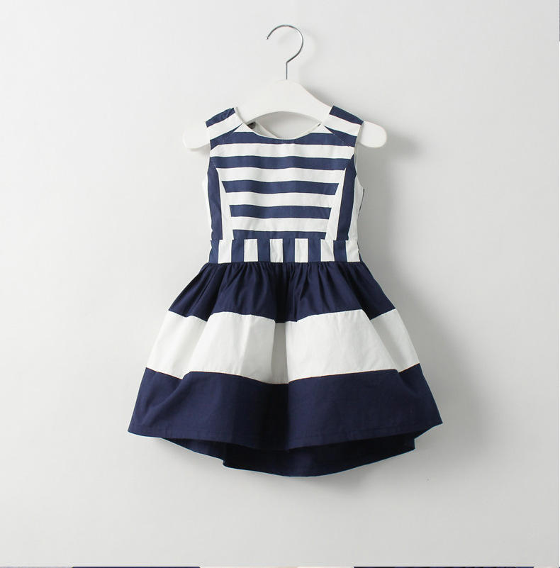 2017 Factory baby girl party dress children frocks designs blue and white children girl dress