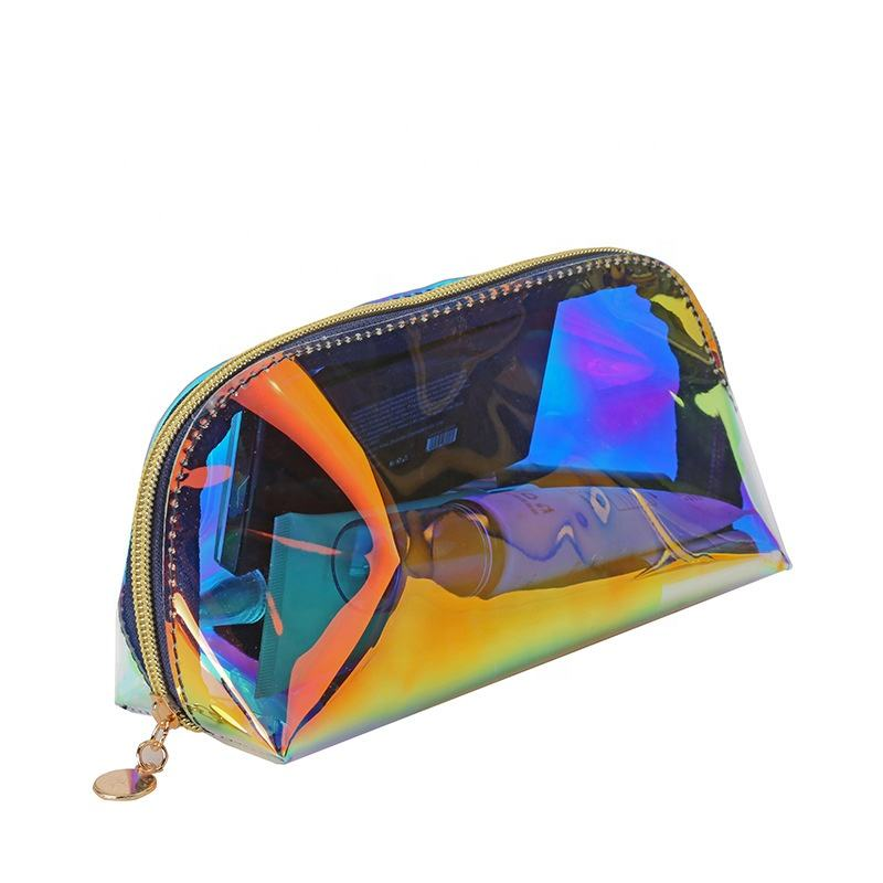 Aangepast door fabrikanten Clear PVC Plastic Bag Hologram Holografische Cosmetische Make-Up tas make
