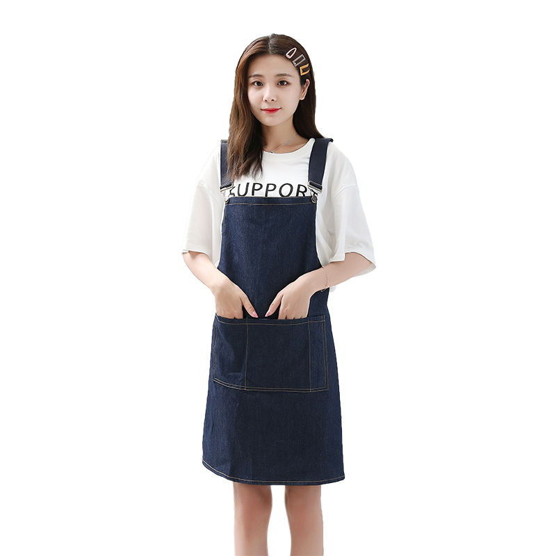 Customized Thick Women Men BBQ Denim Cotton Jeans Apron Pattern With Pocket