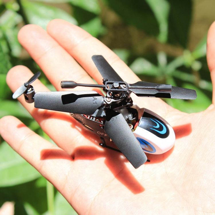ABS Plastic Portable 2CH 2.4G Flying Mini Drone RC Helicopter With Led Light