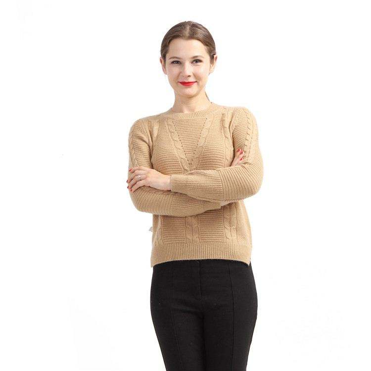 2020 Autumn Winter Basic Casual Cashmere Light Brown Pullover Knitted Sweater