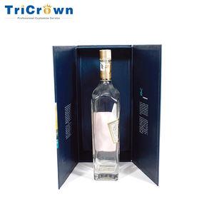 Lüks Katlanabilir Karton Şarap Ekran hediye Kutusu Kabartmalı Sıcak Damgalama logo Şarap Cam Kutusu