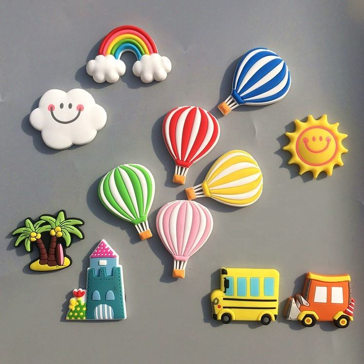 Promotional Rainbow Cartoon Customized Personalised 3D Resin Soft PVC Rubber Souvenirs Fridge Magnets for Refrigerator Stickers