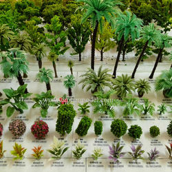 Manufacturer of O HO N TT Z scale artificial miniature model trees for architectural model making and model train scape layout