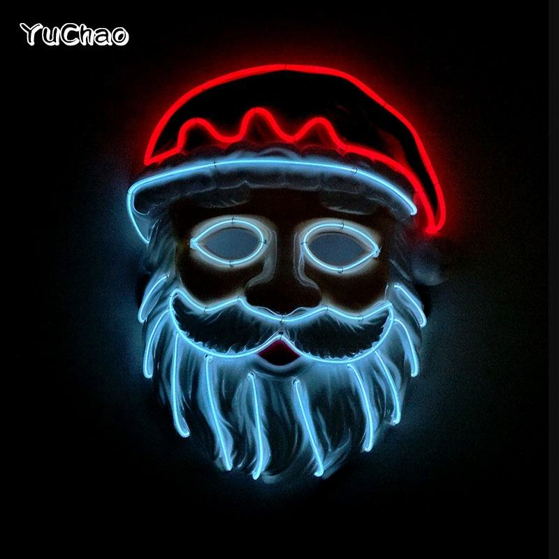 Christmas Style Santa Claus Glowing Mask EL Wire Mask +Steady on Inverter for Festival Party Decoration