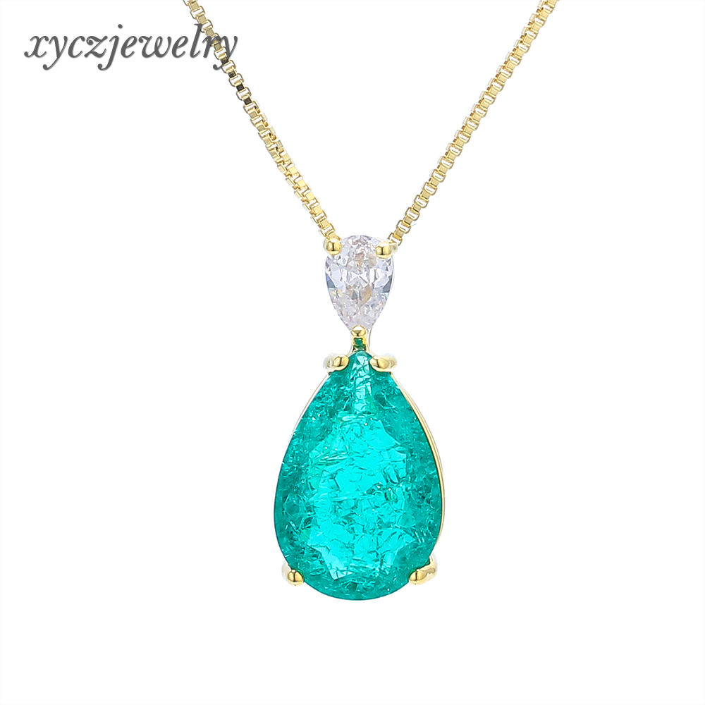 Jewelry Big Glass Pear Shape Fashionable Platinum/Gold Plated Pendant Necklace