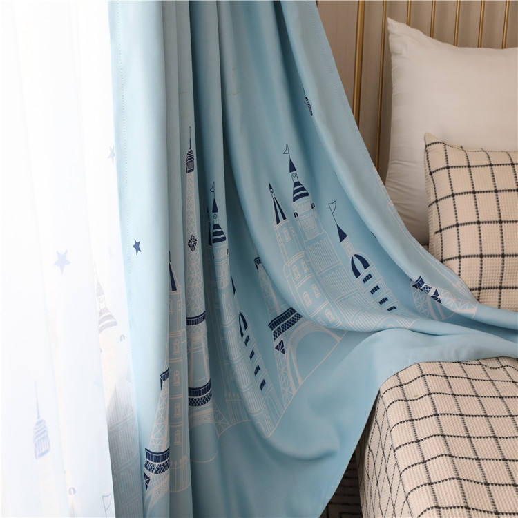 Children's room black silk blackout curtain,Finished blue Mediterranean blackout curtain fabric