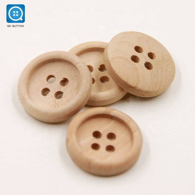 SK Wholesale 4 Hole Round Natural Color Engraving Craft Custom Logo Wood Shirt Button