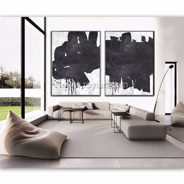 Set of 2 Abstract acrylic minimalist painting wall art for home decor