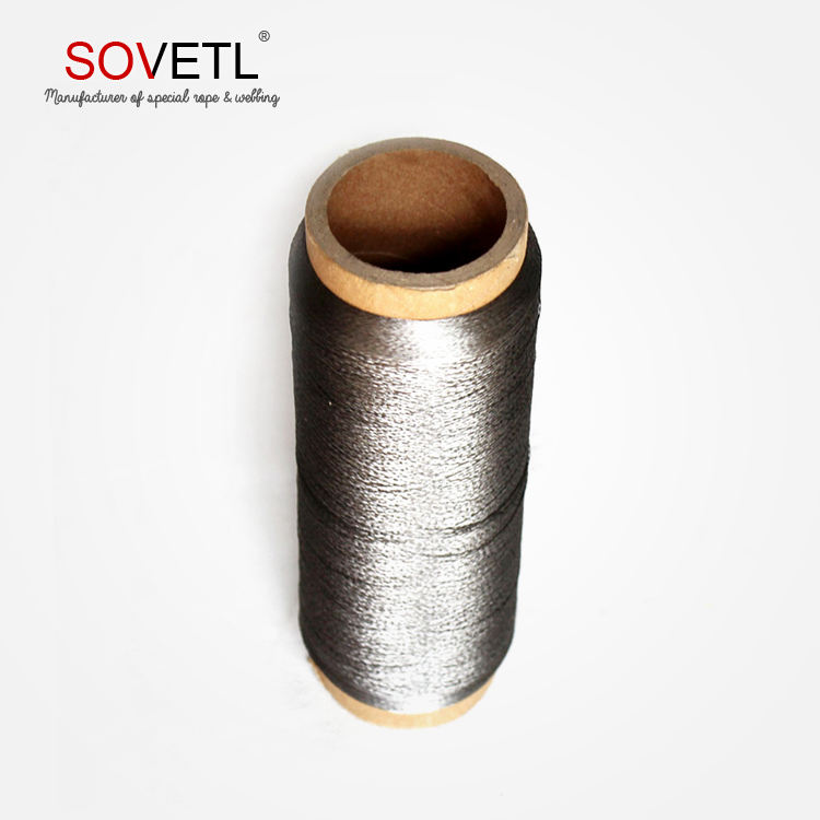 Conductive stainless metal wire thread made of 316L stainless flame fiber
