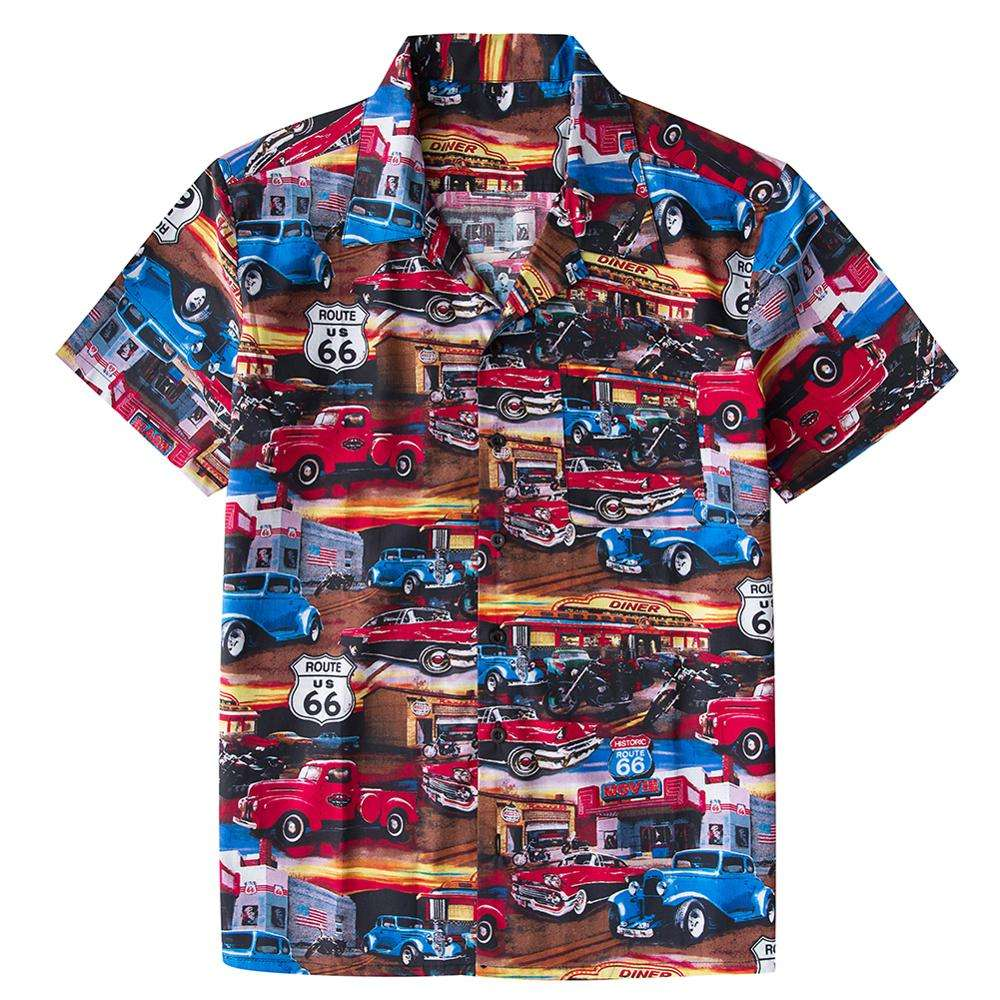 Vintage 80s Hawaiian Classic Old School Car Print Button Down Collar Shirts