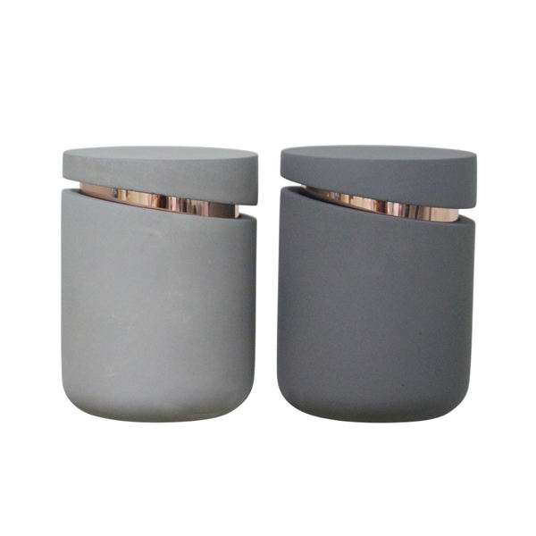 Unique concrete candle jars / black luxury glass candle holder