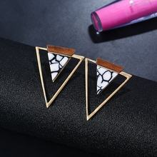 Simple Design Female Geometric Triangle Drop Earrings Acrylic Turquoise Dangle Earring Wholesale