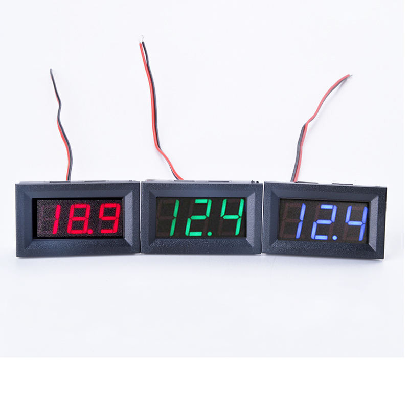 2 Wire 0.56 inch Digital Display Voltmeter DC4.5-30V 10A LED Panel Voltage Tester Voltage Meter Connection Reverse Protection