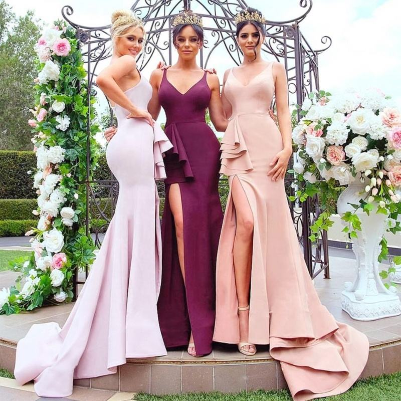 Latest Gorgeous Western Girls Burgundy Elegant Bridesmaid Dresses