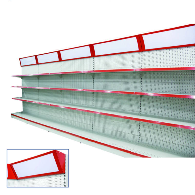 Single Side Priced Supermarket Metal Gondola Shelving with Light Box