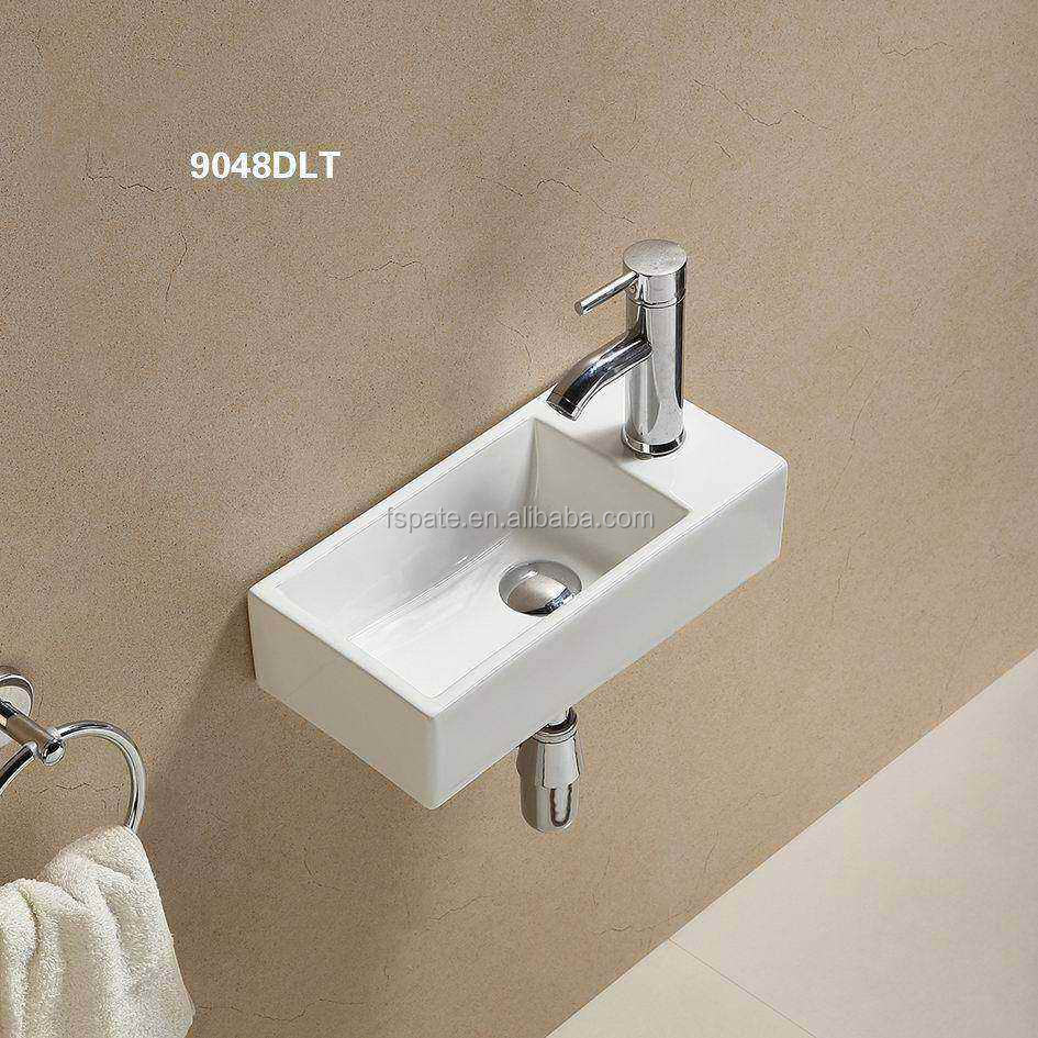 PATE Small Size Rectangular Ceramic Wall Hung Corner Wash Basin Price from Reliable Basin Sink