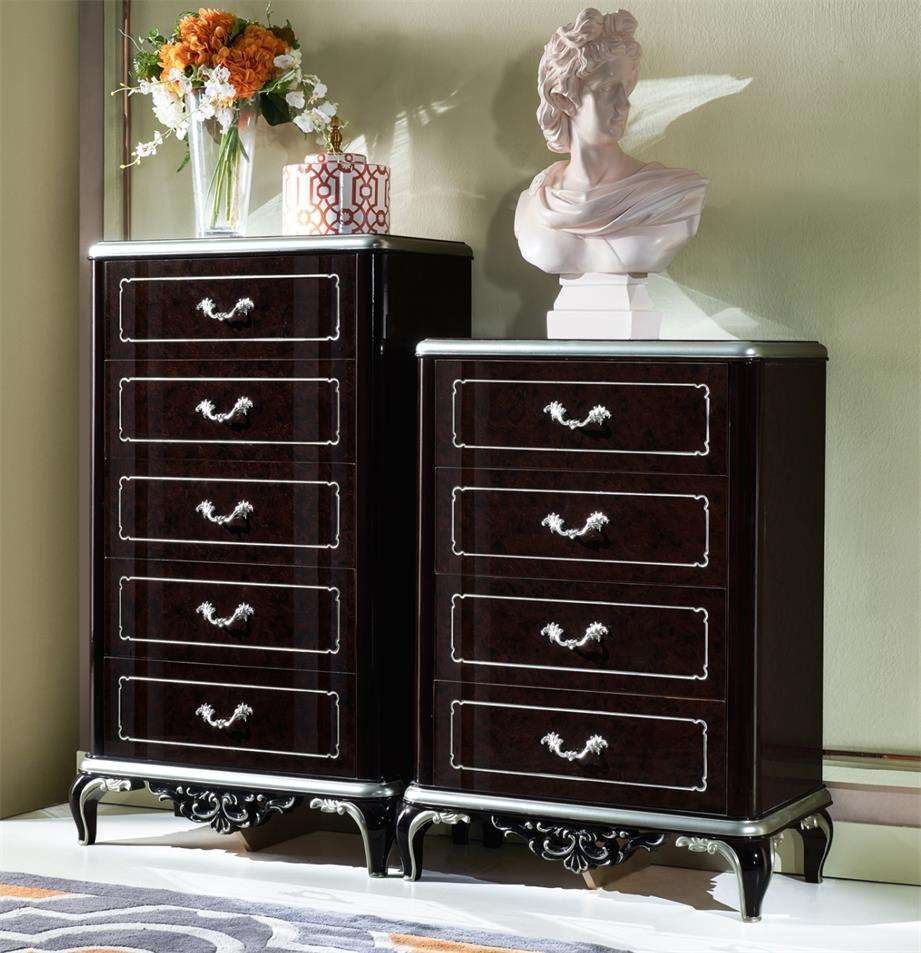 High gloss black color drawer cabinet chest of multi drawers