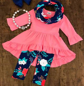 Pink top smocked children clothing kids floral sets wholesale fall girls boutique clothing