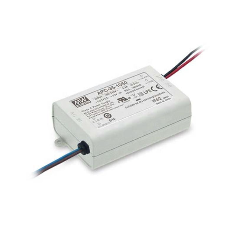 APC-35 series 35W 350mA 500mA 700mA 1050mA IP42 AC-DC current LED DRIVER LOW COST SMPS SWITCHING POWER SUPPLY