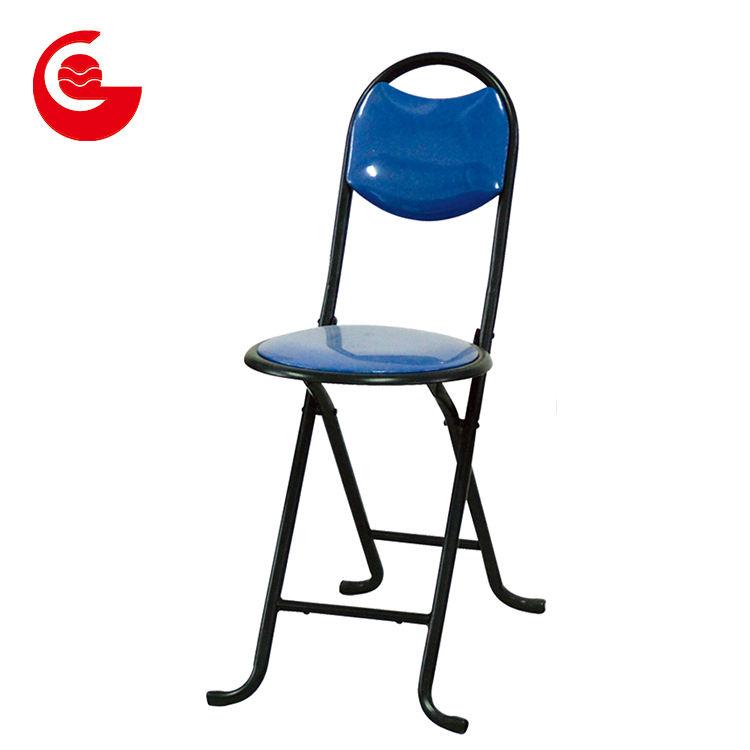 Vintage negro <span class=keywords><strong>PVC</strong></span> asiento ligero taburete plegable con patas de metal