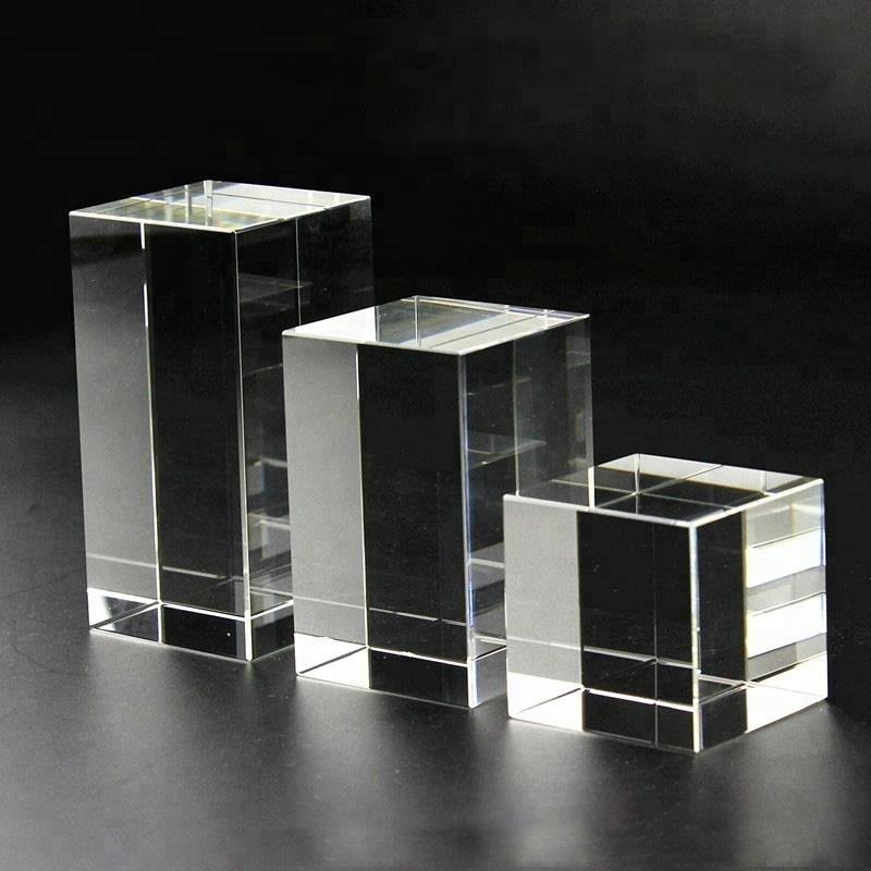 2018 Wholesale Cheap Blank High definition K9 Crystal Glass 3D Laser Engraved Block Cubes for souvenirs gifts