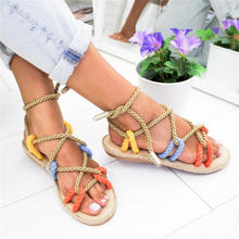 Women Sandals Fashion Summer Shoes Woman Flat Sandals Hemp Rope Lace Up Gladiator Sandals Non-slip Beach Chaussures Femme