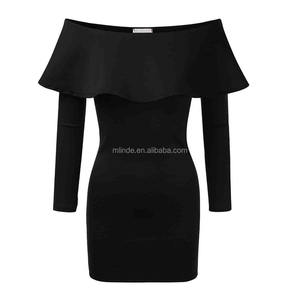 New Arrivals Mature Women Fashion Flounce Frill Off-the-shoulder Bodycon Sexy Short Tight Modern Mini Dress