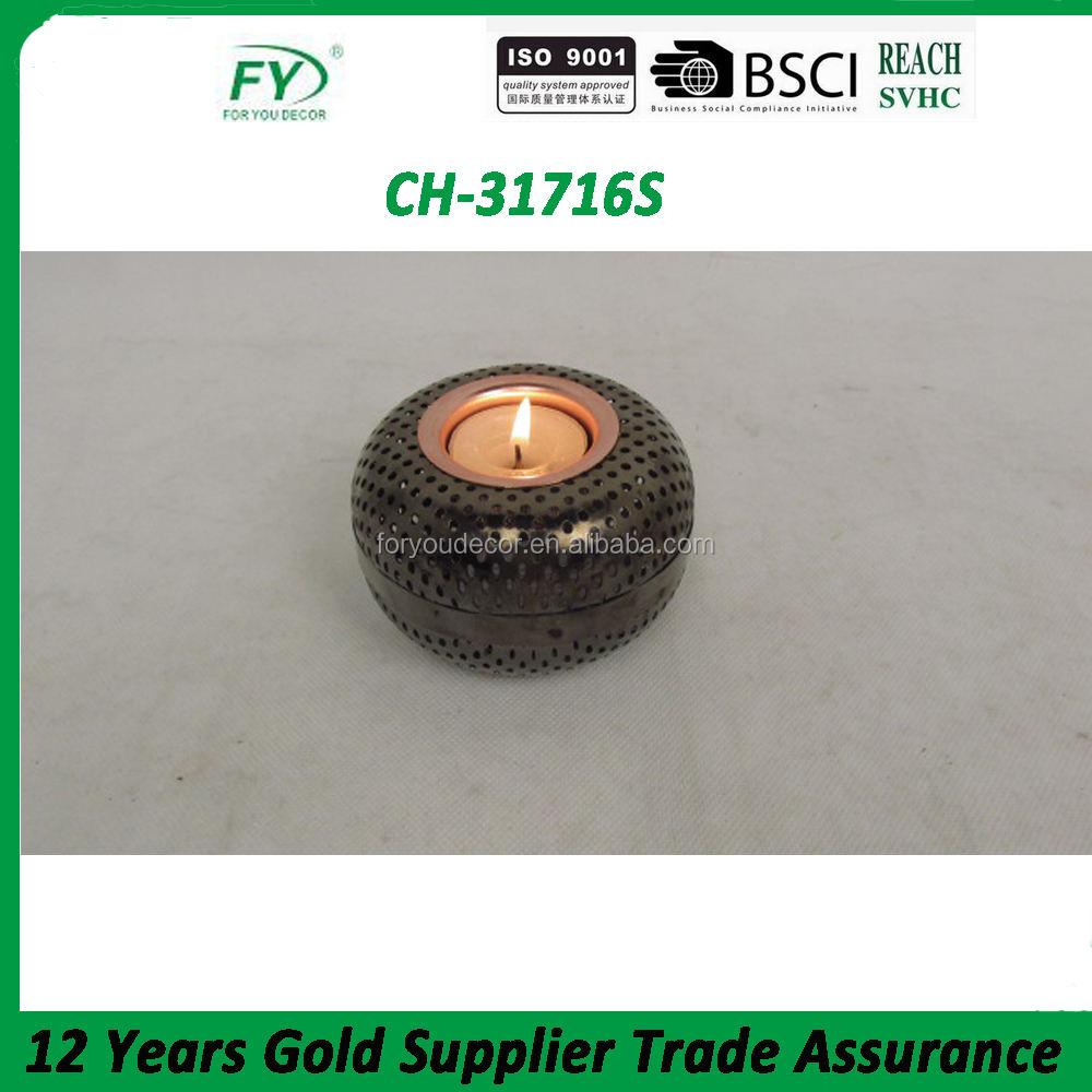 Supporto di candela del metallo cromato con finitura da sposa e decorazione vacanza <span class=keywords><strong>ch</strong></span>-31716s