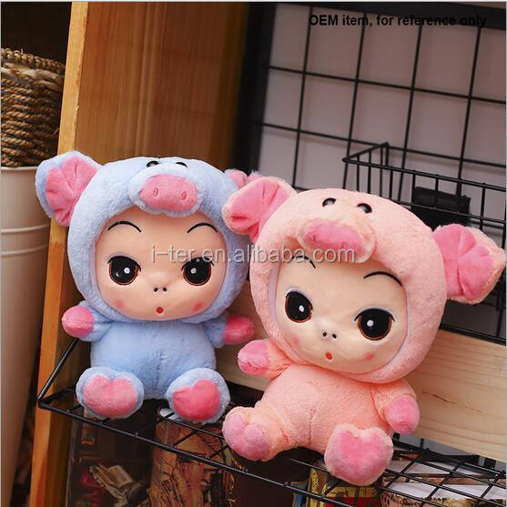 High quality 25 cm baby plush doll with cartoon rabbit cloth in sale