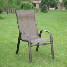 aluminum sling stacking patio dining arm chair