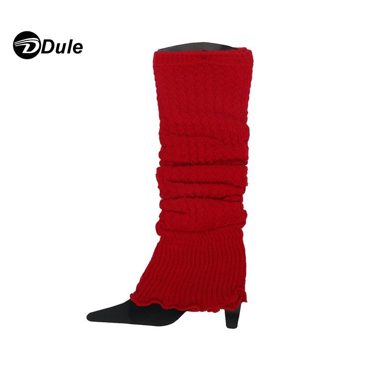 Red Color Knitted Leg Warmers for women - loom knitting women leg warmer, long knit leg warmers Boot Cover Socks