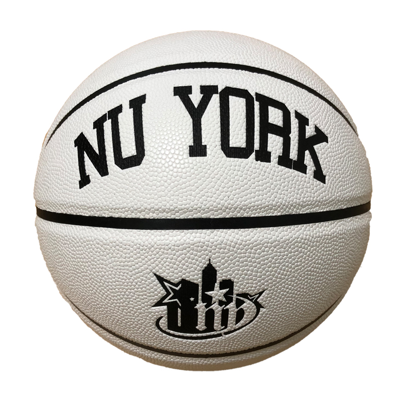 hot sales customized mix white and black ball genuine pu leather official game basketball size 7 on sales