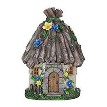 "Fairy House Garden Statue, Fairy Gardening, Resin, Solar Powered, 9"" L x 9"" W x 15"" H"