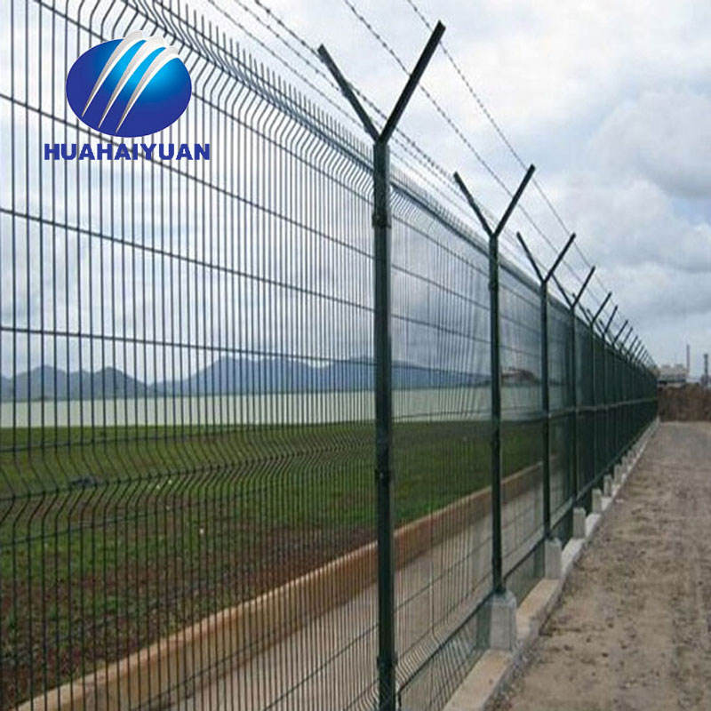pvc coated airport fence anti-climb with razor barbed wire fence airport security welded mesh fence