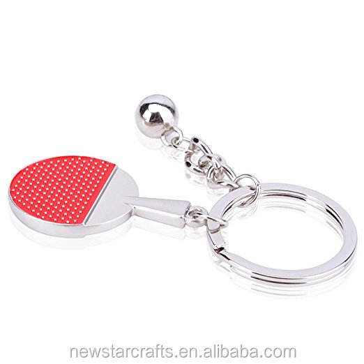 Sports gift metal Tennis Ball Racket Keychain Key Ring