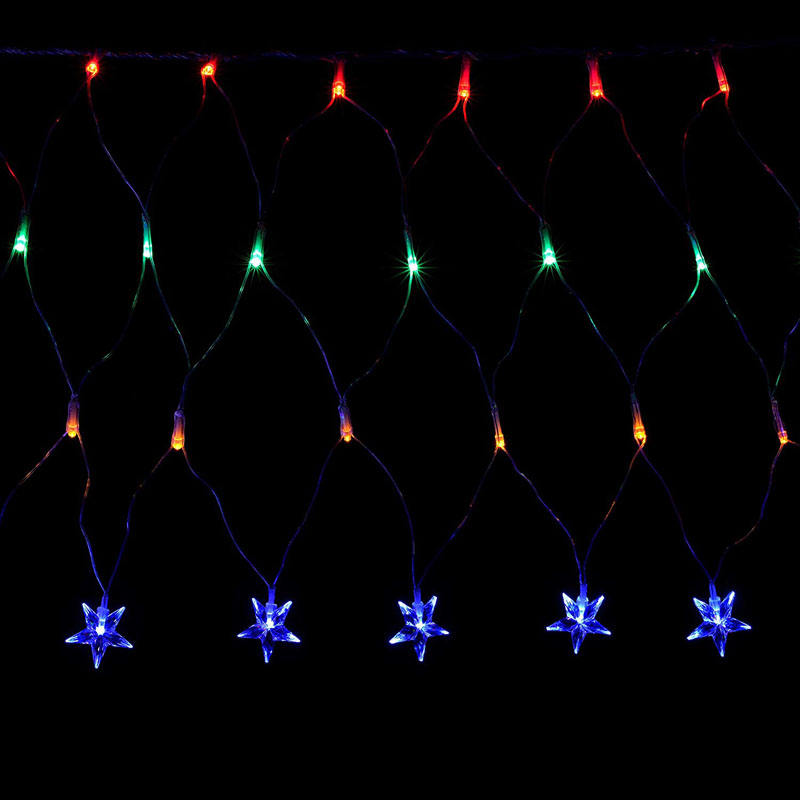 LED Star Gordijn Netto Christmas Light String met Chasing/Statische Instellingen, 8 m x 40 cm-Multi-Colour