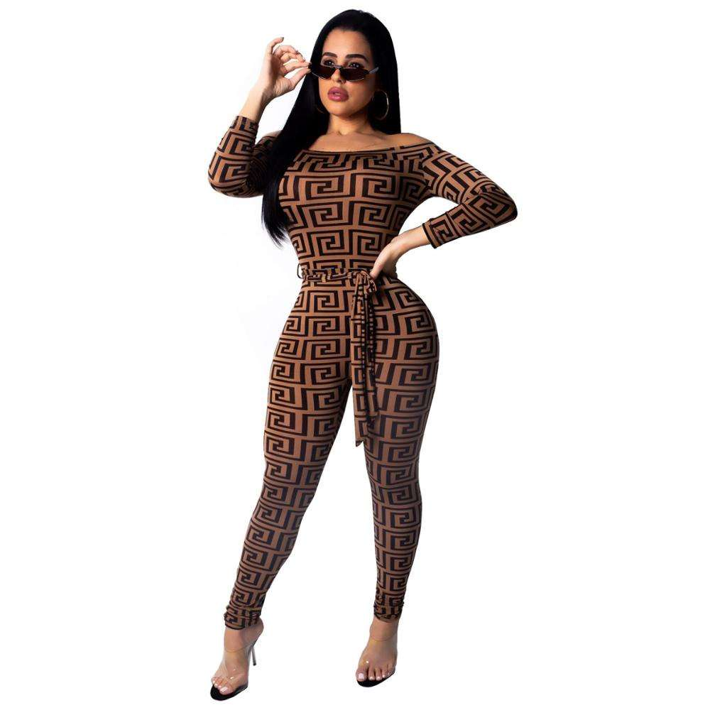 9102 Stylish long sleeve strapless jump suit boob tube jumpsuits women 2019