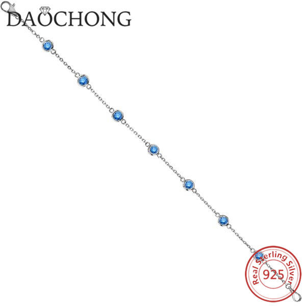 fancy blue diamond women silver anklets with sterling silver material